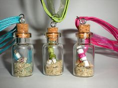 Mini message in a glass bottle necklace with cork, sand and sea ...