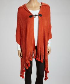 Take a look at this Rust Pom-Pom Fringe Hooded Wrap by Aziza on #zulily today!