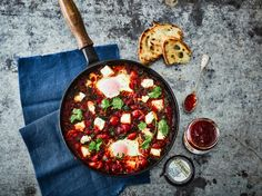 Baked Eggs with Spinach, Feta, Chorizo and Fresh Chilli Jam - Tracklements Chilli Jam, Chicken Patties, Sausage Rolls, Spinach And Feta, Fresh Coriander, Cafe Food, Baked Eggs, Honey Mustard, Chorizo