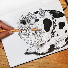 O ilustrador Alex Solis  briga e interage com seus próprios desenhos.