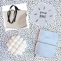 new faves for the week! Baggu Grid Weekend Bag, Poketo Silver Agenda Planner, and the Milk Candle by Andrej Urem.