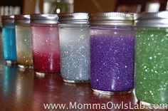 Momma Owl's Lab: Glitter Jars -love her experiments on settling time rates!