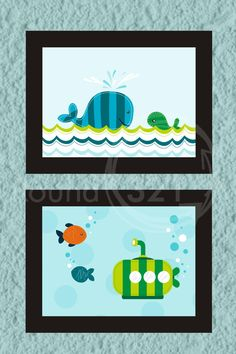 Ocean Theme Prints with Whale Fishes & Submarine by Prints321, $38.00