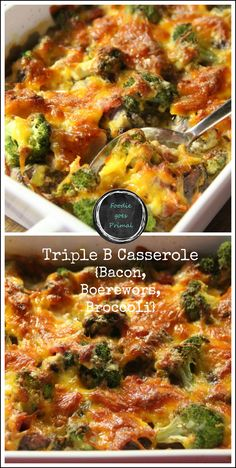 I call it the 'Triple B Casserole' – Bacon, Boerewors & Broccoli. It's super quick and easy to make, and in my opinion, perfect for a Monday. Banting Diet, Banting Recipes, Meat Recipes, Low Carb Recipes, Cooking Recipes, Healthy Recipes, Lchf, Entree Recipes, What's Cooking