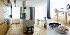 Wygodne 89-metrowe mieszkanie w Gdyni - dominują szarości i biel ocieplona drewnem - Dom