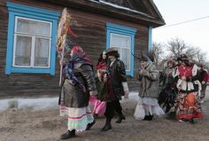"Belarussians celebrate the pagan rite called ""Kolyadki"" in the village of Lobcha, about 143 miles south of Minsk. Kolyada is a pagan winter holiday, which over the centuries has merged with Orthodox Christmas celebrations in Ukraine and some parts of Belarus."