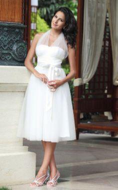 """Empire Halter Knee-length Satin Tulle Wedding Dress"""