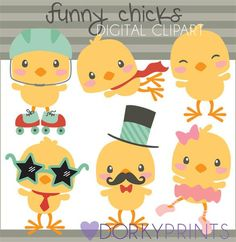 Funny Easter Chicks Clipart - ballerina chick, mustache chick, super hero chick, chick on rollerskates.