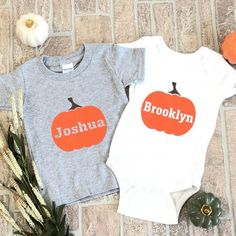 Adorable Pumpkin Personalized shirt Personalized Shirts, Onesies, Pumpkin, Boutique, Baby, Kids, Clothes, Fashion, Custom Tailored Shirts