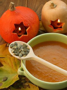 Pumpkin soup (love those pumpkin candle holders)