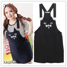 cat overalls| up to 4XL!  pastel goth nu goth creepy cute hipster plus size clothing fachin plus size fashion overalls bottoms skirt cat plus spreepicky wish