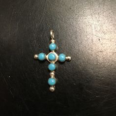 "New!  Authentic ZUNI turquoise cross! Brand new! Authentic Zuni Indian made turquoise and sterling silver cross. From Santa Fe, New Mexico! Measures 1"" tall by .75"" wide. Jewelry Necklaces"