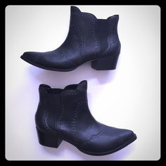 """Shoe Cult Inferno Ankle Bootie -Black Black booties, tiny silver studs along stitching, 1 3/4"""" heel. Never worn. Shoe Cult by Nasty Gal Shoes Ankle Boots & Booties"""