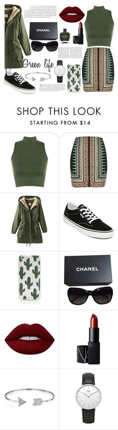 Green lifee by bertastoneez on Polyvore featuring moda, WearAll, River Island, Vans, Daniel Wellington, Bling Jewelry, Chanel, Sonix, Lime Crime and NARS Cosmetics
