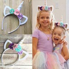 Cute Girls Magical Unicorn Horn Head Party Hair Fancy Dress Kid Cosplay Headband