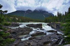 Photograph by Stuart Litoff.  Athabasca Falls is just off the Icefields Parkway in Jasper National Park, Canada