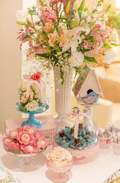 Little Birds Pink and Blue Party Planning Ideas Supplies Idea Cake