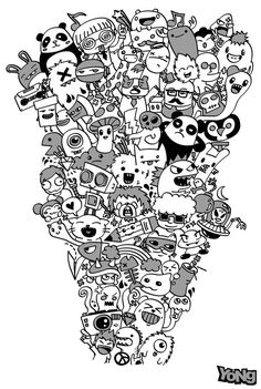 Doodle Invasion Coloring Book   *   Doodle Coloring pages colouring adult detailed advanced printable Kleuren voor volwassenen coloriage pour adulte anti-stress kleurplaat voor volwassenen Line Art Black and White