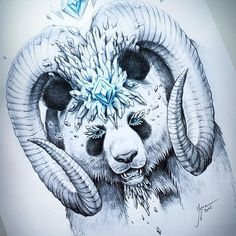 """""""King of the Panda"""" - this is my newest sketch in my #SoulsOfNatureSeries 🐼 It is also the giveaway price for @deveralart who requested a panda with horns and crystals! 😊 I really hope you like it! I think I am obsessed with sketching in this style xD #art #arte #panda #animal #sketch #sketching #sketchbook #pen #pencil #pencilart #art_empire #art_helps #art_realisme #artofdrawingg #art_spotlight #artoftheday #blue #crystal #diamond #worldofartists #wildlife #pencilsketch #artsy"""
