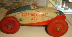 VINTAGE 1930s WYANDOTTE TOY SOAP BOX DERBY RACE CAR 226 TIN WOODEN WHEELS Pusher #Wyandotte