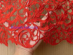Red dress lace fabrics 110cm wide wedding dress fabric water souble beautiful tree leafs embroidery dress fabric by yard
