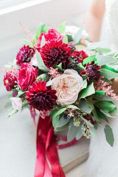 Elegant Red Wedding Flowers - Katy Melling Photography | Vintage wedding at Eshott Hall, Northumberland | Rosa Clara Wedding Dress | Red Flowers