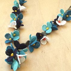Turkish OYA Lace - Silk Necklace  - Festival - Blue by DaisyCappadocia on Etsy