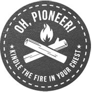 oh, pioneer! logo by josh abe. Graphic Design Typography, Branding Design, Packaging Design, Old School Motorcycles, Be Thou My Vision, Dust Bowl, Nature Crafts, Circle Design, Picture Quotes