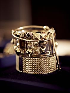 Gold bangles with Cleo and Swarovski Rule in the Kingdom of Jewels @ 30 Days of Fashion and Beauty