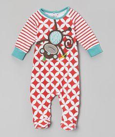 Look what I found on #zulily! Red Lattice Monkey Footie - Infant by Mud Pie #zulilyfinds