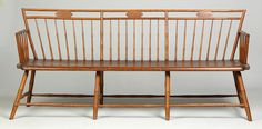 New England Windsor Ash & Pine Settee | Cottone Auctions