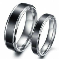 Delicate 316L St Titanium Black Rings for Couple