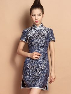 Blue Custom Tailored Short Floral Silk Qipao / Cheongsam Dress