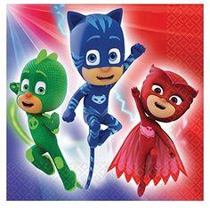 Servilletas PJ Masks Servilletas para fiestas de los PJ Mask, Héroes en Pijama , servilletas con motivos de los PJ Mask, Gekko, Ganuto y Buhita!!!