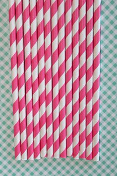 50 Hot Pink Striped Paper Straws birthday party  by CupcakeExpress, $8.00
