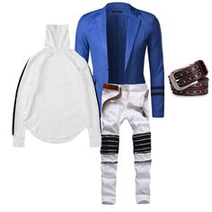Hangout biker chic outfit. An electric blue blazer on top of white biker jeans and a white turtleneck will have all eyes on you, no doubt  | LATICCI   Browse through our website to find badass and punk-inspired designs that empower self-expression. Find items for every occasion, and start expressing your style!