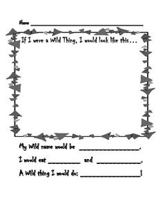 Hello! Here is a little FREE worksheet to pair with Where the Wild Things Are, By Maurice Sendak-another one of my all-time favorite books! Your students will have a chance to draw themselves as a Wild Thing, create a Wild name, and complete some Wild statements about themselves!