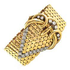 French Retro Yellow Gold Platinum Diamond Buckle Bracelet, 1940-49