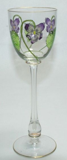 Blown glass Art Nouveau floral enamelled goblet by Theresienthal c. 1900