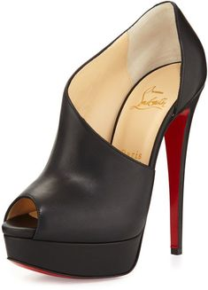 Christian Louboutin OFF!>> Verita Asymmetric Red Sole Bootie Black by Christian Louboutin at Neiman Marcus. Hot Shoes, Crazy Shoes, Me Too Shoes, Pretty Shoes, Beautiful Shoes, Talons Sexy, Zapatos Shoes, Shoes Heels, Christian Louboutin Outlet