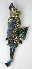 "Vintage Rhinestone Enamel Figural Parrot Fur Clip Pin Brooch 3.25""h Deco c1930s"