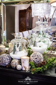 Christmas Home Tour 2017 - Winter Glam Dining Room - Home with Holliday Elegant Christmas Decor, Modern Christmas, Rustic Christmas, Simple Christmas, White Christmas, Christmas Jars, Christmas Home, Christmas Vignette, Christmas Crafts