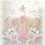 bed crown set vintage white pink roses