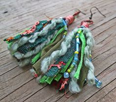 Upcycled, recycled, repurposed tassel earrings - Bohemian jewelry by Shelley Warnica.