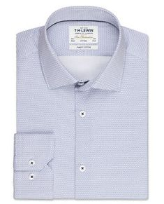 Button Cuff T.M.Lewin Mens  Super Fitted Burgundy Micro Dogtooth Shirt