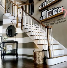 Different frame size configurations for picture display shelves. Decorating Stairway Walls, Staircase Wall Decor, Entryway Stairs, Stair Decor, Ideas For Stairway Walls, Picture Wall Staircase, Staircase Makeover, Modern Staircase, Hallway Ideas