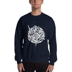 Arabic Design Calligraphy printed on Arabic sweatshirt Calligraphy Print, Arabic Calligraphy Art, Calligraphy Alphabet, Printed Sweatshirts, Hoodies, Arabic Design, Islamic Art, Prints, Mens Tops