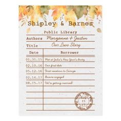 Autumn Fall Leaves Library Card Save The Date | - rustic gifts ideas customize personalize