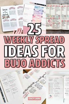25 Bullet Journal Weekly Spread Ideas For Bujo Addicts - Crazy Laura Bullet Journal Notebook, Bullet Journal Spread, Bullet Journal Layout, Bullet Journal Ideas Pages, Bullet Journal Inspiration, Bullet Journals, Bujo Weekly Spread, Bubble Letters, Journal Aesthetic