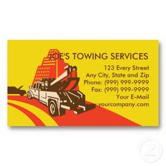 Wrecker Tow Truck Car Breakdown Business Card